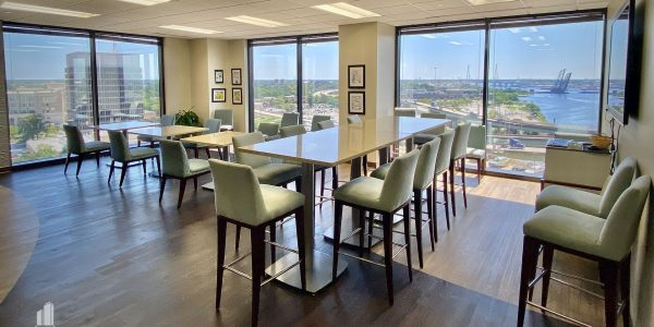 Interior break room in Norfolk Dominion Tower 10th floor overlooking Elizabeth River