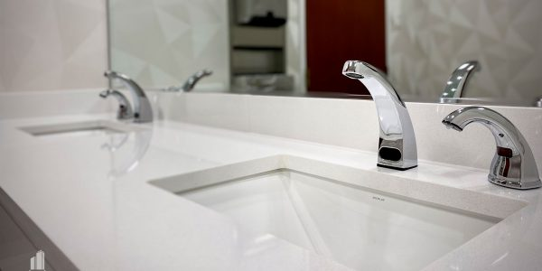 Interior sink faucets in Norfolk Dominion Tower 13th Floor
