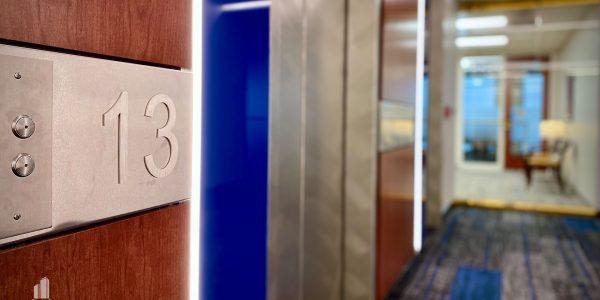 Interior elevator lobby in Norfolk Dominion Tower 13th floor