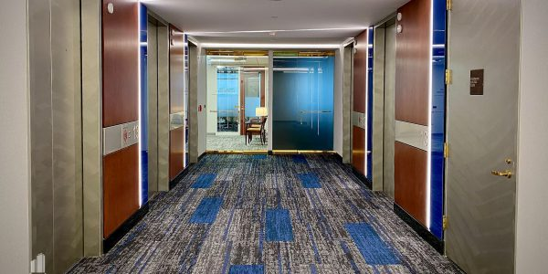 Interior Elevator lobby and carpet and office in Norfolk Dominion Tower 13th floor