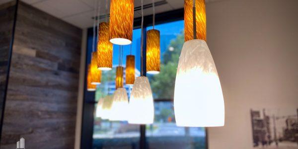 hanging pendant lighting in break room of Norfolk Dominion Tower 1st floor