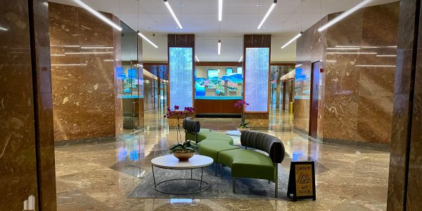 Millwork and LEDs in 1st floor lobby of Norfolk Dominion Tower