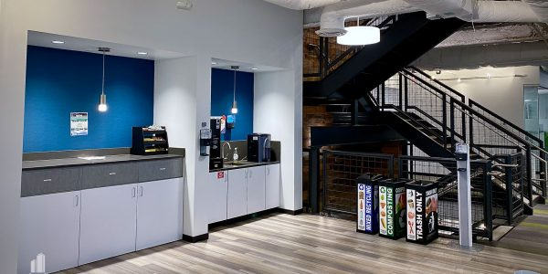 Interior coffee nook and custom stairwell in Norfolk Dominion Tower 20th floor