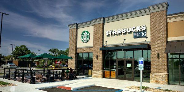 Starbucks exterior storefront at Hilltop Marketplace in Virginia Beach