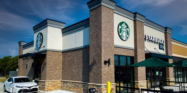Starbucks storefront and drive thru at Hilltop Marketplace in Virginia Beach