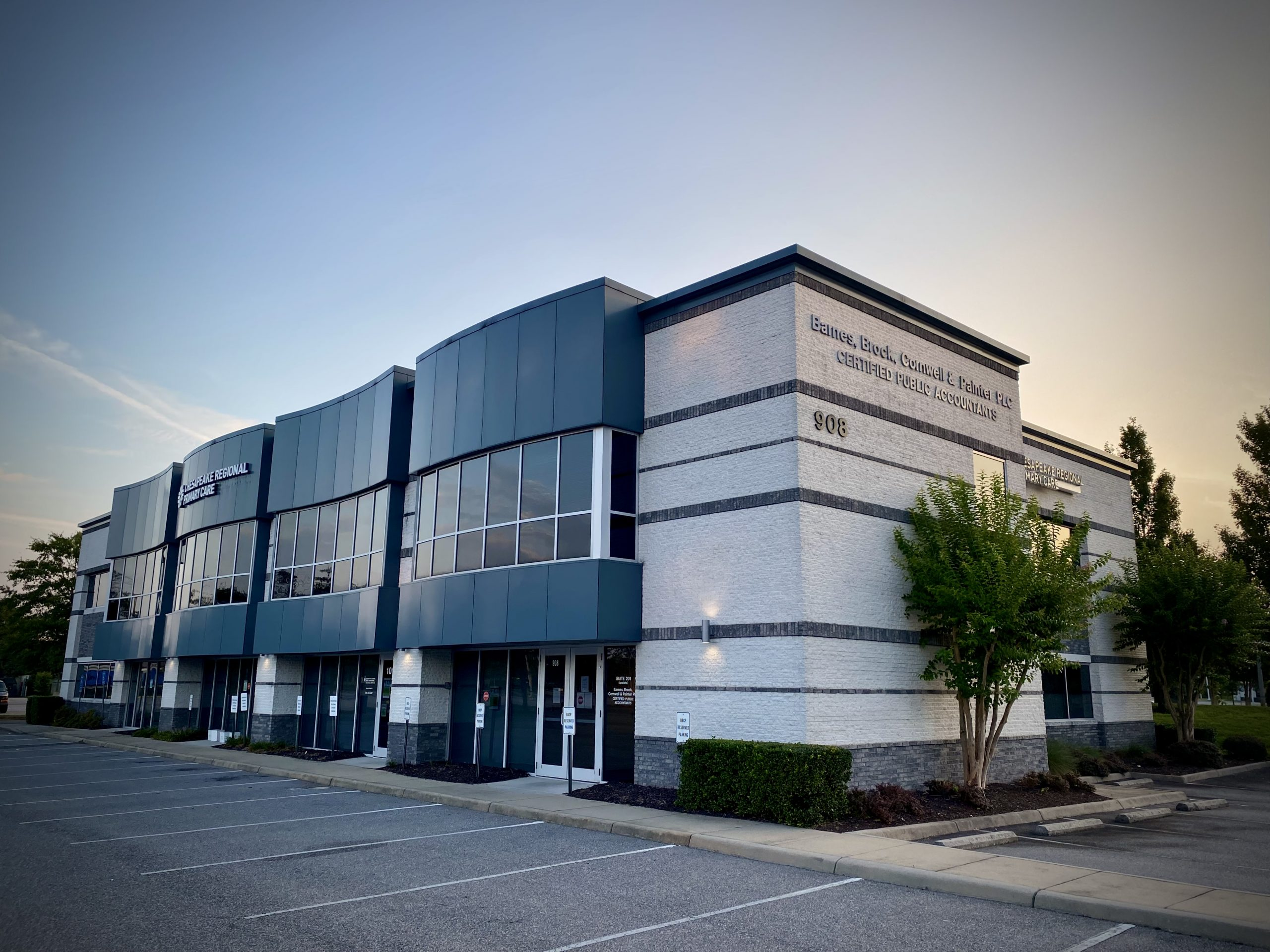 Greenbrier Point Two Office Building front right exterior in Chesapeake