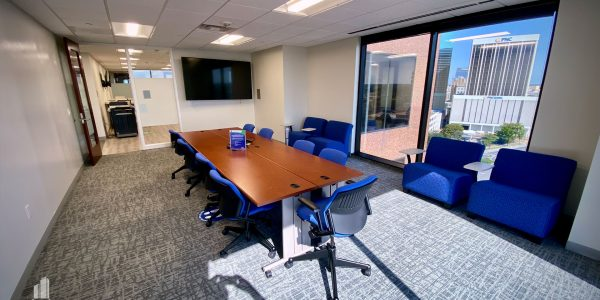Conference table in upper floor office overlooking Downtown Norfolk