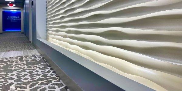 Expensive Feature Wall in Bank Lobby Corridor in Norfolk Dominion Tower