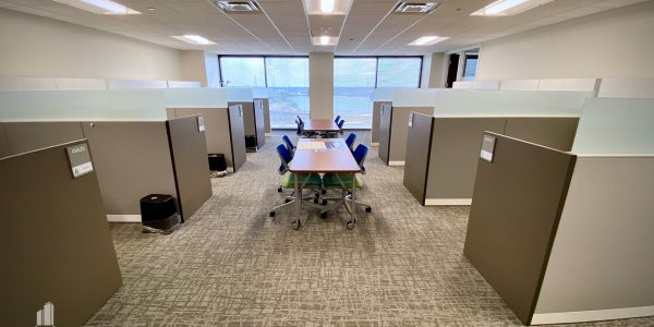 Office cubicles and meeting tables on the 9th Floor of Norfolk Dominion Tower
