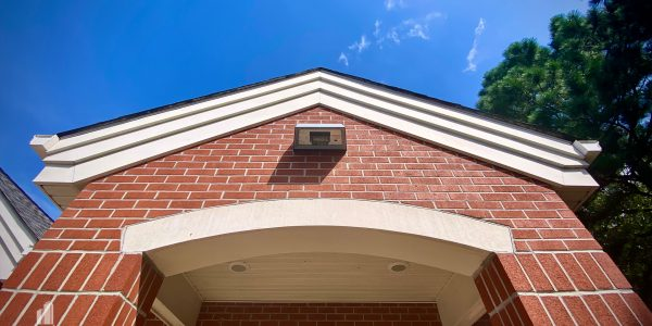 Architectural detail of small brick medical building in Hampton