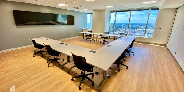 Conference room with wide screen televisions overlooking Virginia Beach proper