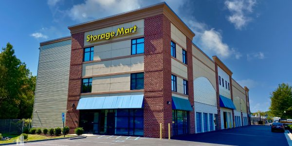 Multi-level brick storage facility with indoor climate controlled storage bays