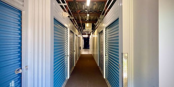 Indoor climate controlled storage bay hallway with elevator access